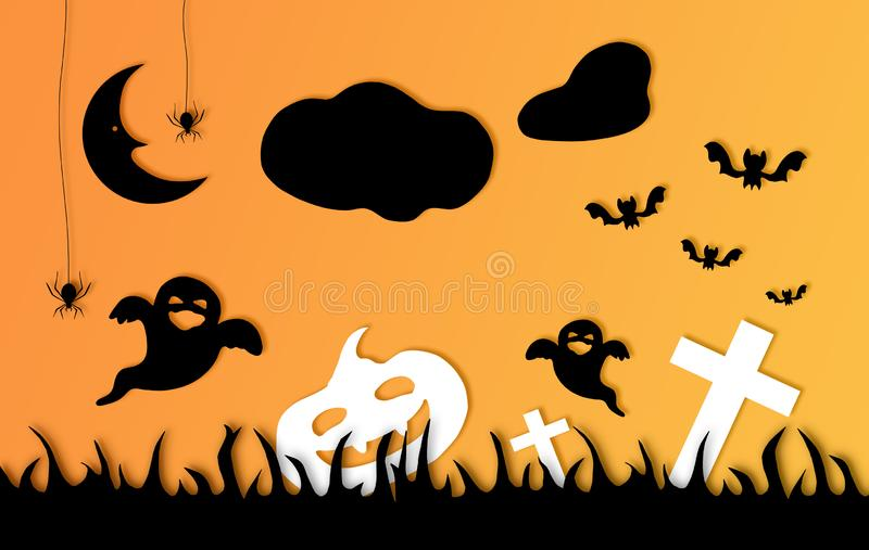 Halloween card composition with motifs and orange background royalty free stock photo