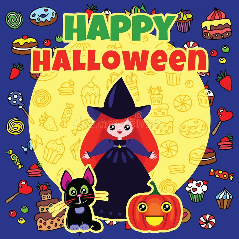 Download Halloween card stock vector. Image of announce, girl - 34015751