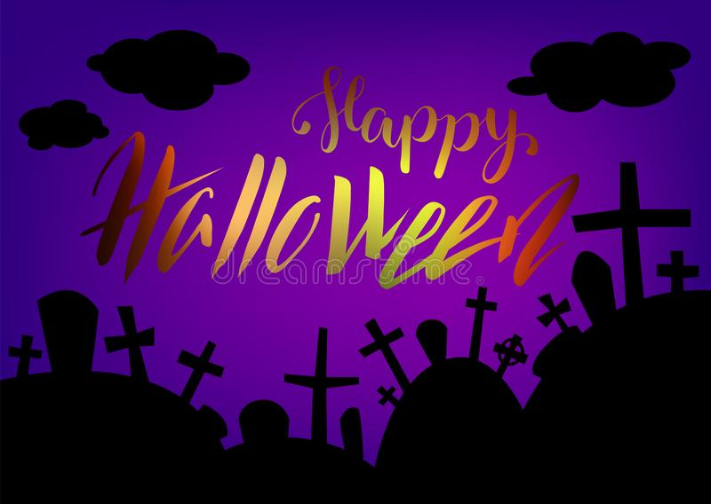 Halloween card with lettering and graveyard landscape by night. Happy Halloween greeting card. Halloween horizontal banner with graves and dark cloud. Spooky vector illustration
