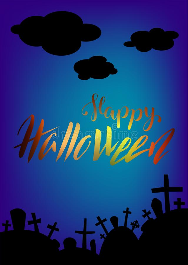 Halloween card with lettering and graveyard landscape by night. Happy Halloween greeting card. Halloween vertical banner with graves and dark clouds. Spooky stock illustration