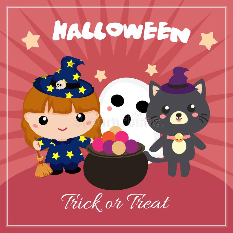 Cute halloween card with lovable kids characters. Halloween card with lovable kids characters vector illustration