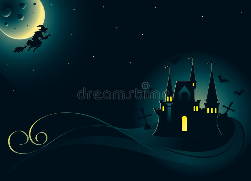 Halloween Card With Palace And Witch Stock Photography