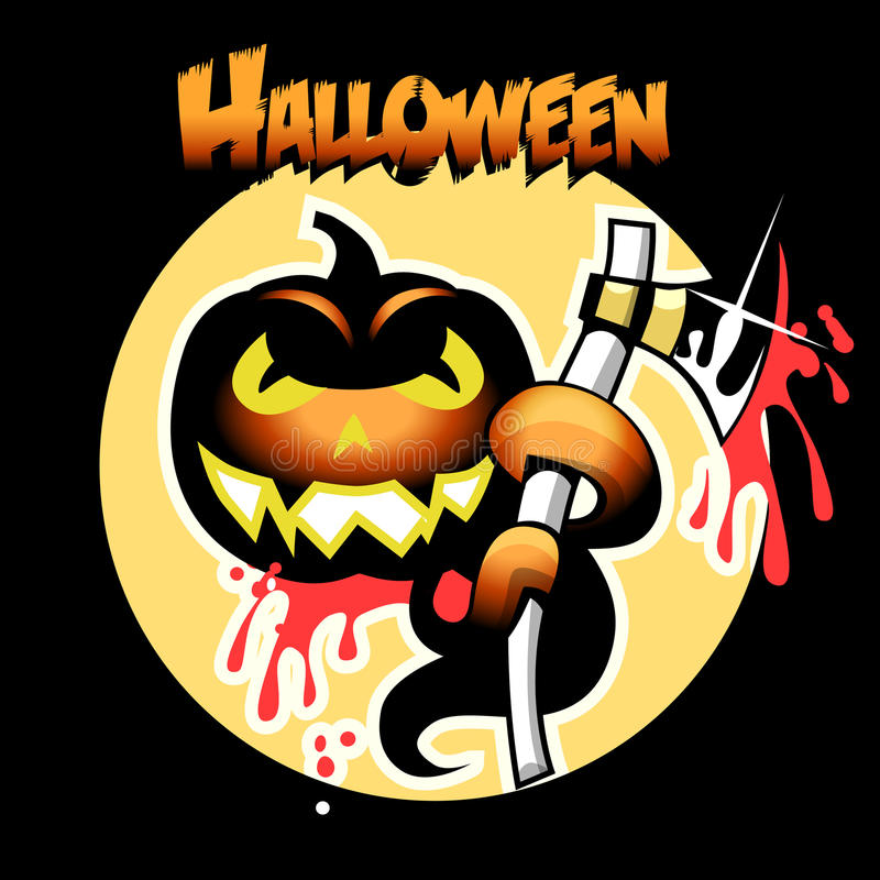 Download Halloween Card With Pumpkin And Ax Stock Images - Image: 27184394