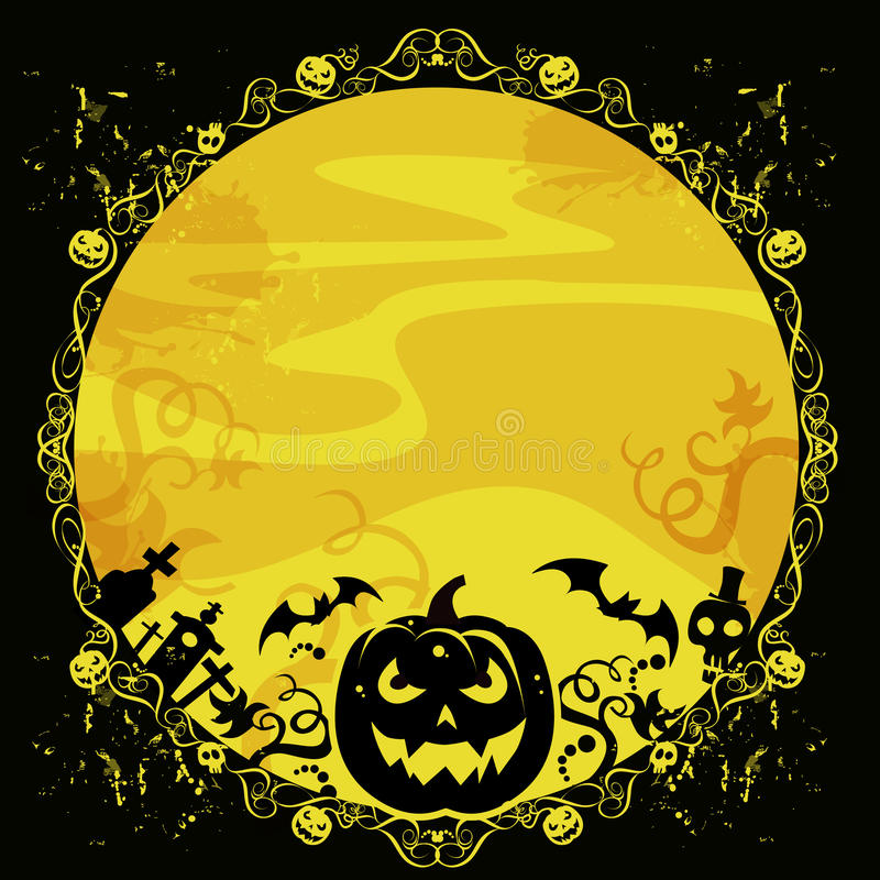 Download Halloween Card With Pumpkin And Bats Stock Illustration - Illustration of celebrate, joke: 27144326