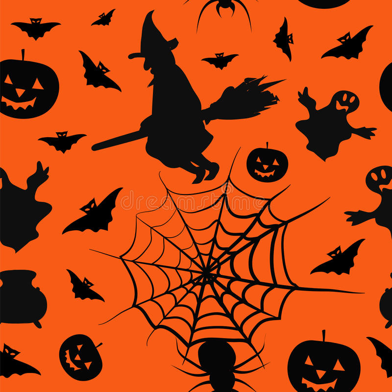 Halloween card seamless pattern background. With witch, pumpkin, bat, boiler, spyder, web and ghost vector illustration