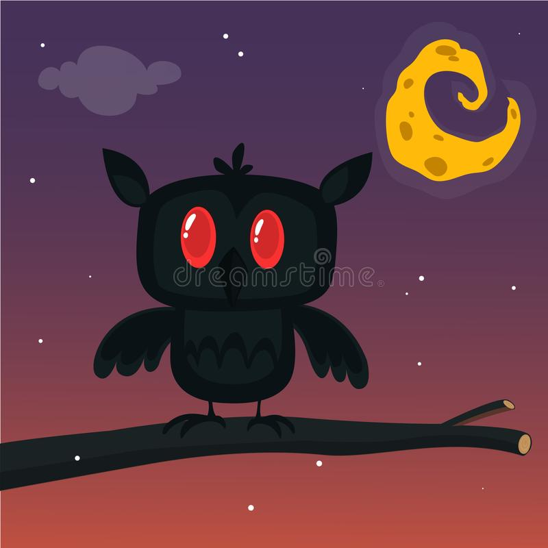 Halloween card, silhouette of owl with large eyes sitting on a branch against a full moon and starry night sky. royalty free illustration
