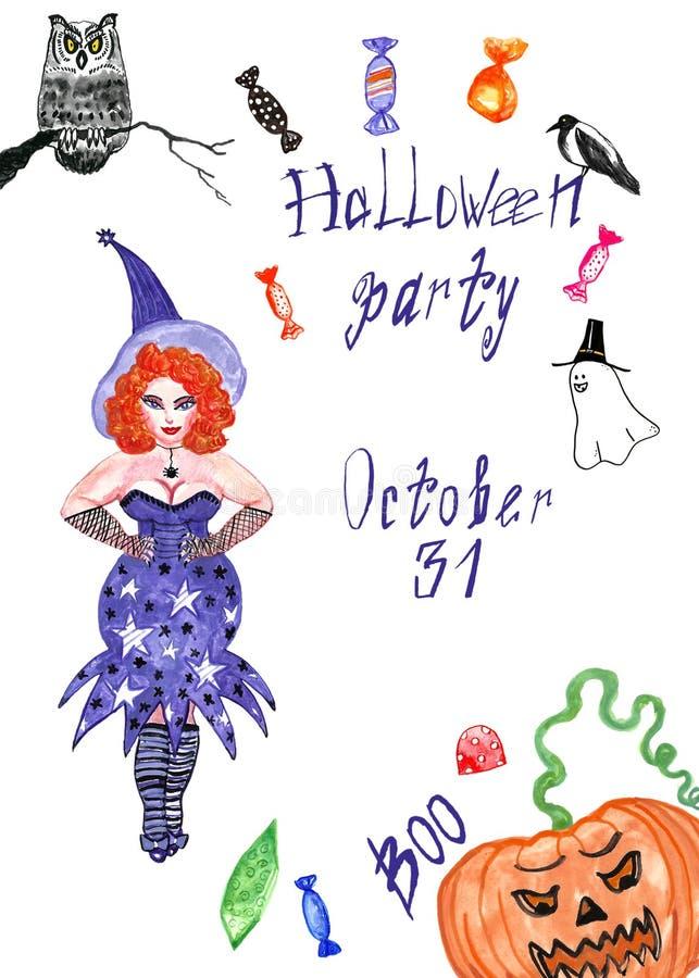Halloween card. halloween Symbols set on white background. Witch, owl, pumpkin vector illustration