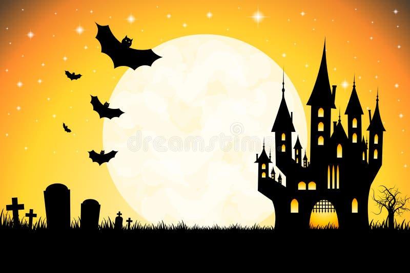 Halloween illustration - cemetary, castle. Halloween illustration with a cemetary, moonlight, castle, flying bats, tree royalty free illustration