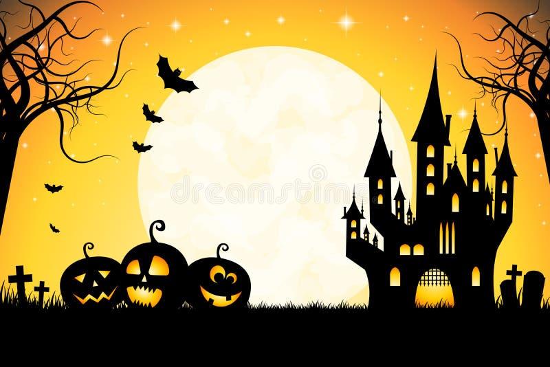 Halloween illustration - cemetary, moonlight, castle. Halloween illustration with a cemetary, moonlight, flying bats and castle royalty free illustration