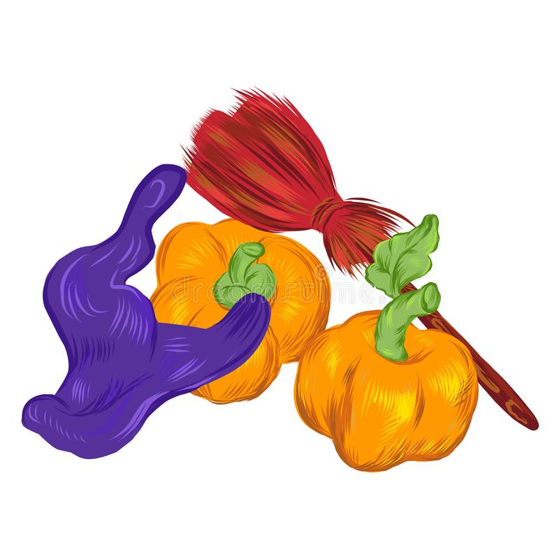 Halloween card template with witches hat, broom and pumpkins, vector illustration. stock illustration