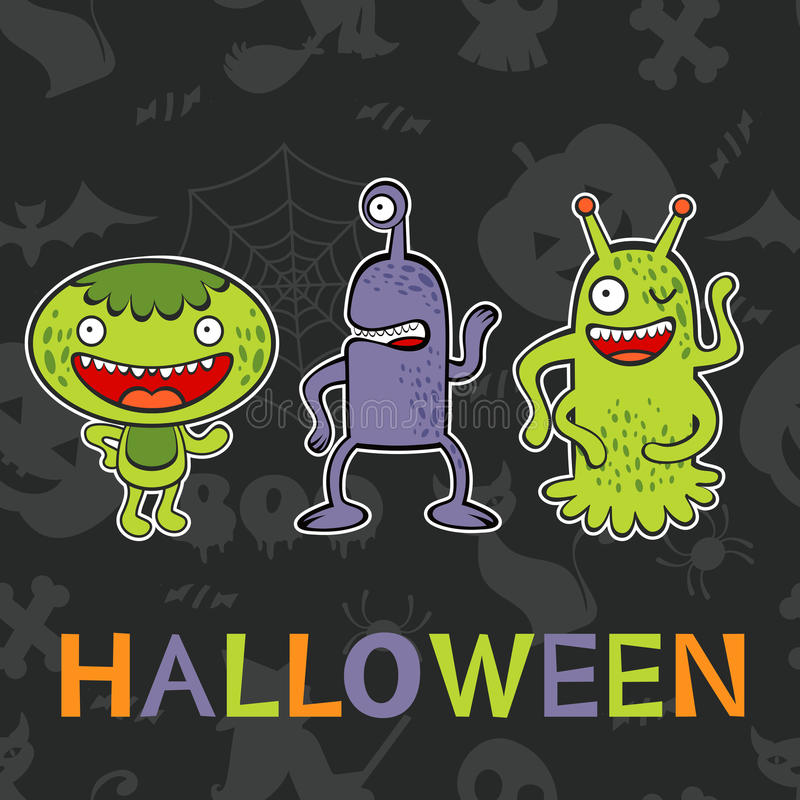 Halloween card with three funny monsters royalty free illustration