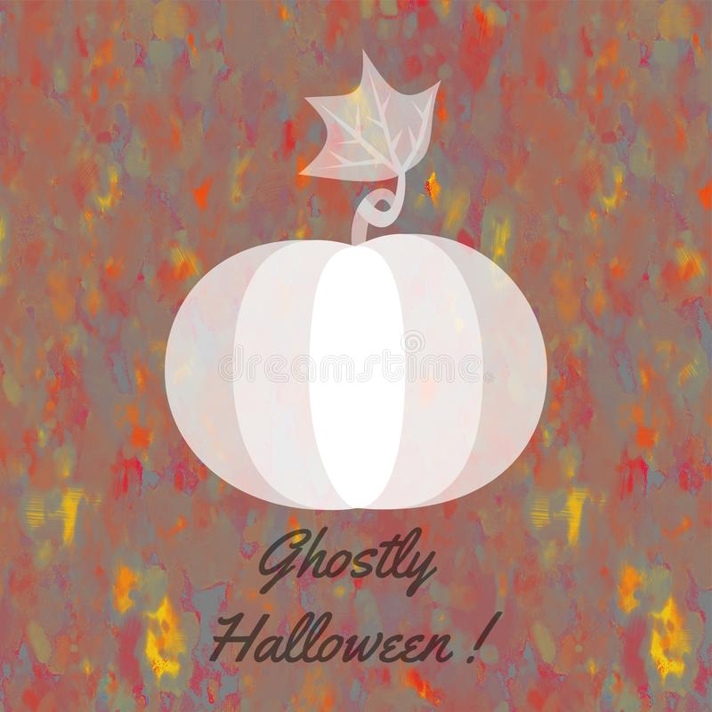 Halloween card with whitish ghostly pumpkin royalty free stock photo