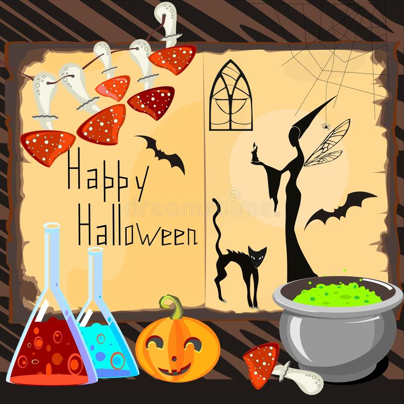 Download Halloween Card with witch stock vector. Image of open - 33673288