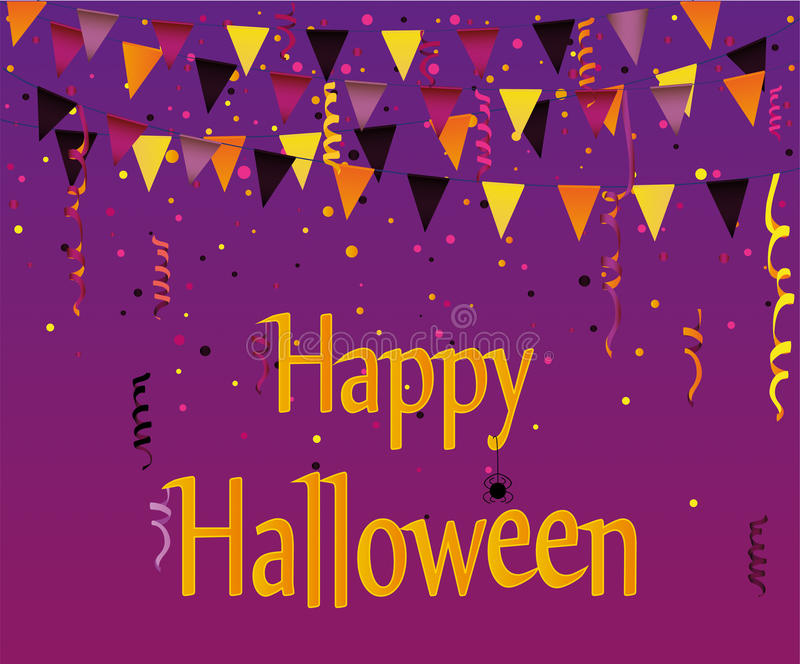 Halloween Carnival with flags Garlands. Vector. stock illustration