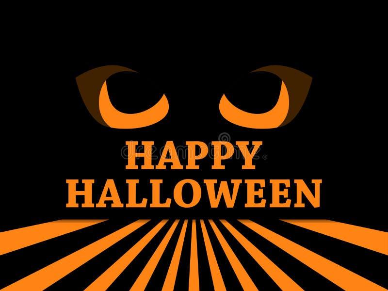 Halloween cartolina d'auguri felice di festa del 31 ottobre con gli occhi spaventosi diabolici, le pupille nere ed i raggi Vettor royalty illustrazione gratis