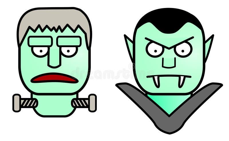 Halloween Cartoon Characters: Frankenstein & Dracula Vector royalty free illustration