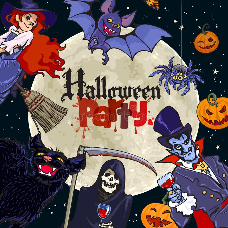 Halloween cartoon characters on full Moon background with text Halloween Party. Vector. royalty free illustration
