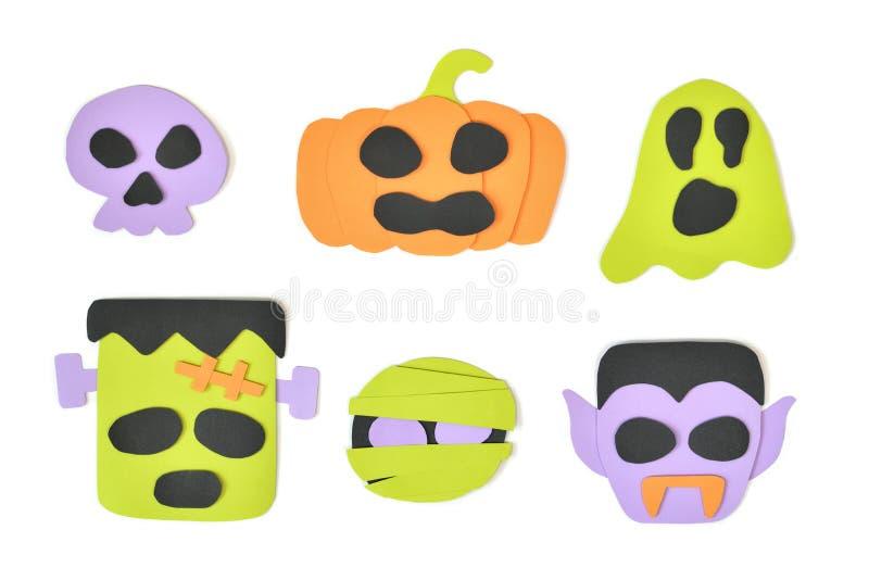 Halloween cartoon faces on white background royalty free stock photos