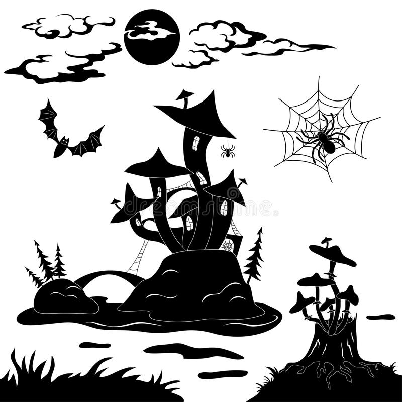 Halloween cartoon landscape royalty free illustration