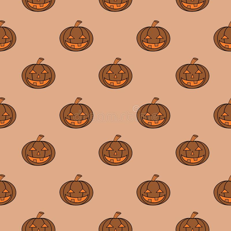 Halloween Carved Pumpkin Seamless Pattern royalty free illustration