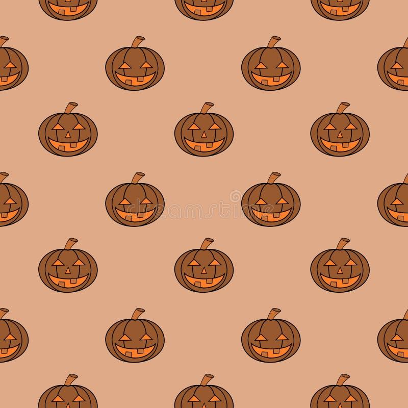 Halloween Carved Pumpkin Seamless Pattern royalty free illustration