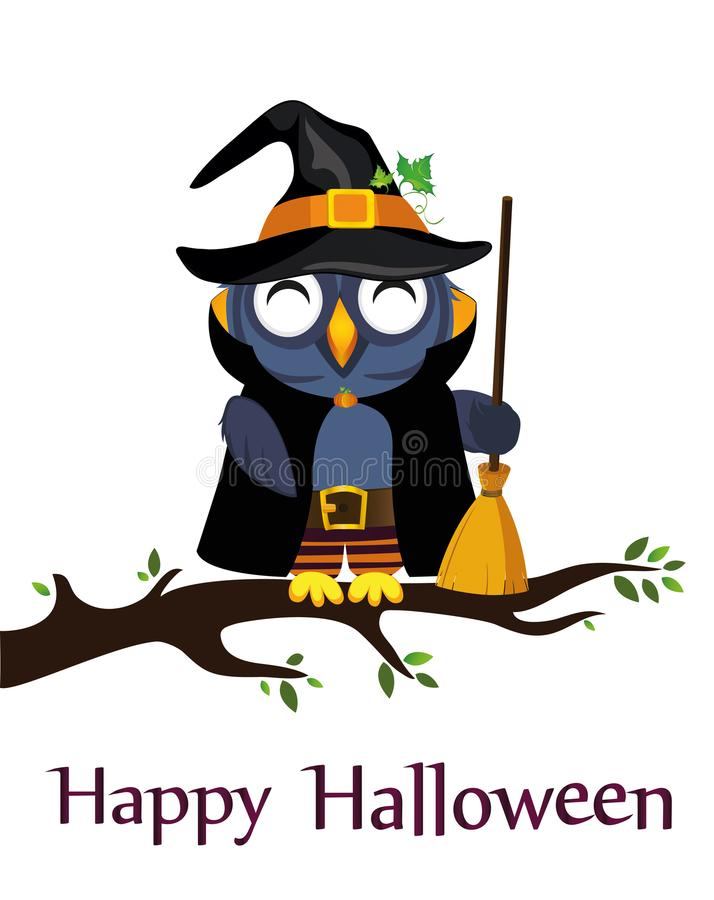 Halloween. Cartoon owl in a witch costume with broom sitting royalty free illustration