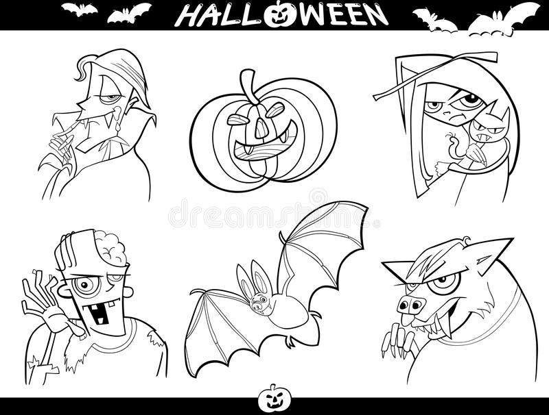 Download Halloween Cartoon Themes For Coloring Royalty Free Stock Photos - Image: 26908968