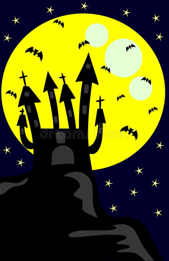 Dark Castle In A Night With Moon And Bats Royalty Free Stock Photography