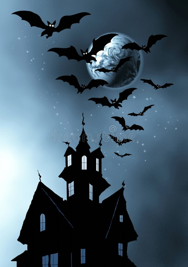 Halloween. Castle and bats. stock photos