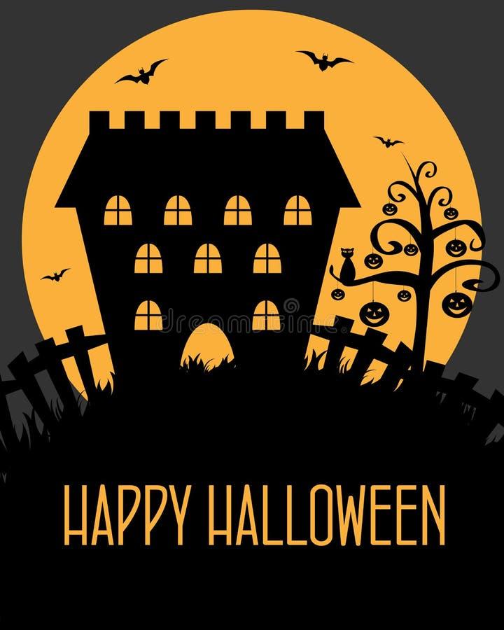 Halloween castle card vector illustration