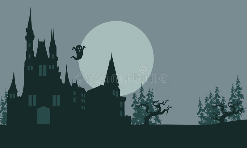 Halloween castle and ghost scary vector illustration
