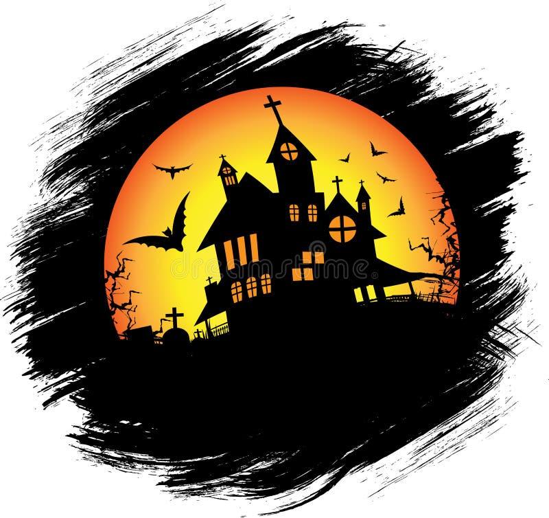 Halloween castle with sun royalty free illustration