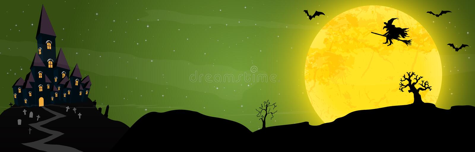 Halloween castle and witch in front of a full moon stock illustration