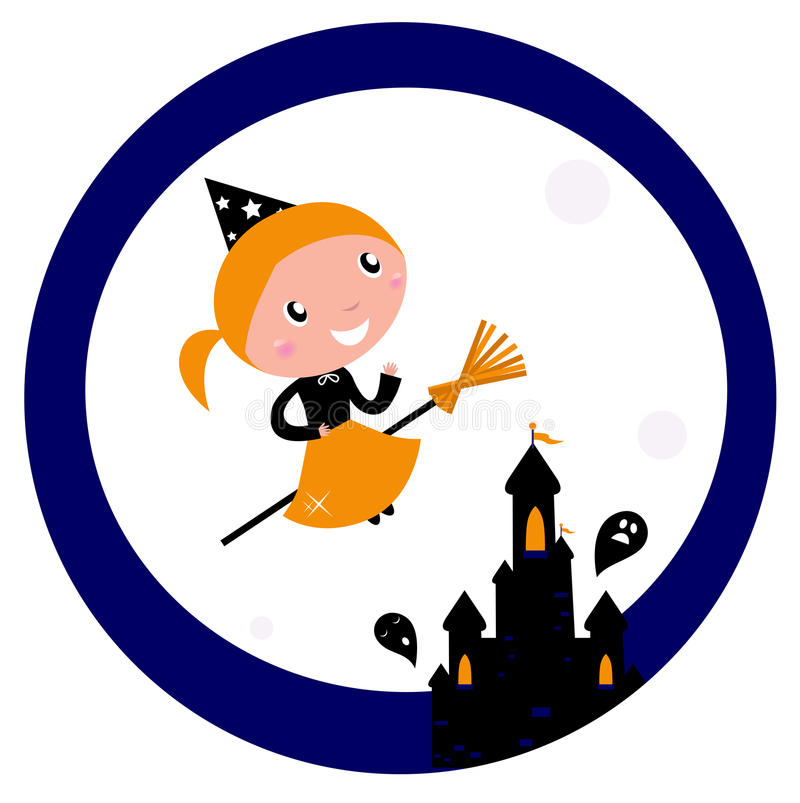 Halloween castle with Witch Girl flying. Cute Witch girl flying around Halloween haunted castle. Vector cartoon Illustration royalty free illustration