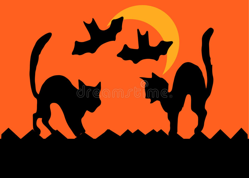 Halloween Cat Fight vector illustration