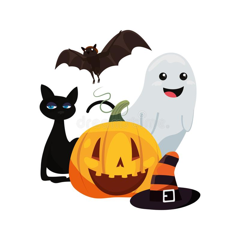 Free Halloween Cat Ghost Pumpkin Bat And Hat Royalty Free Stock Photo - 142666095