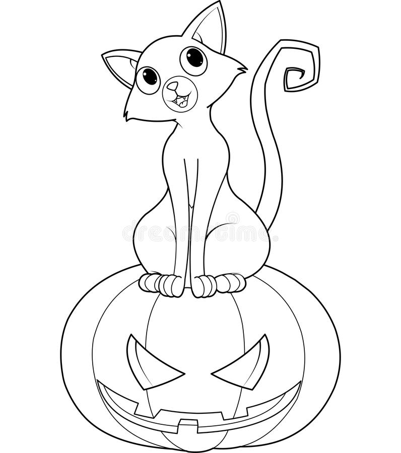 Download Halloween Cat On Pumpkin Coloring Page Stock Vector