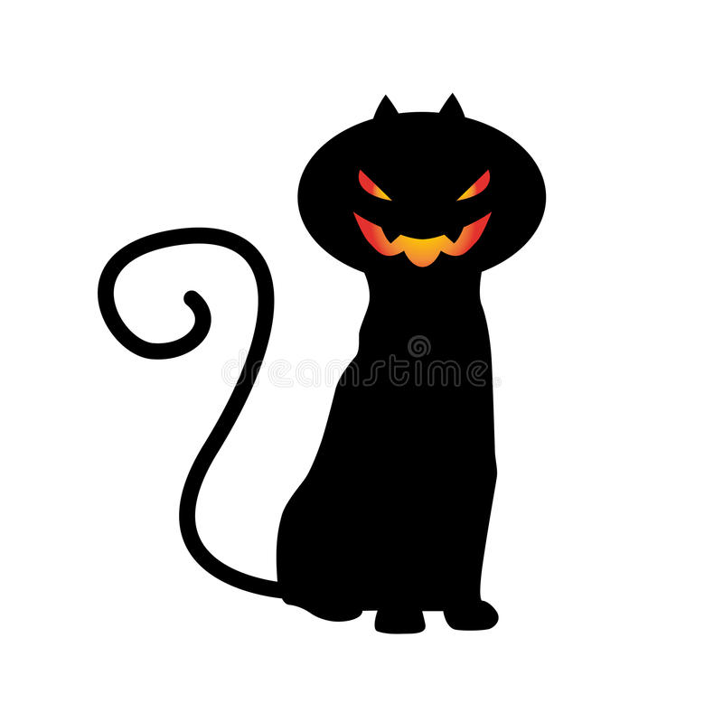 HALLOWEEN CAT VECTOR. Cat with halloween pumpkin head isolated on white royalty free illustration