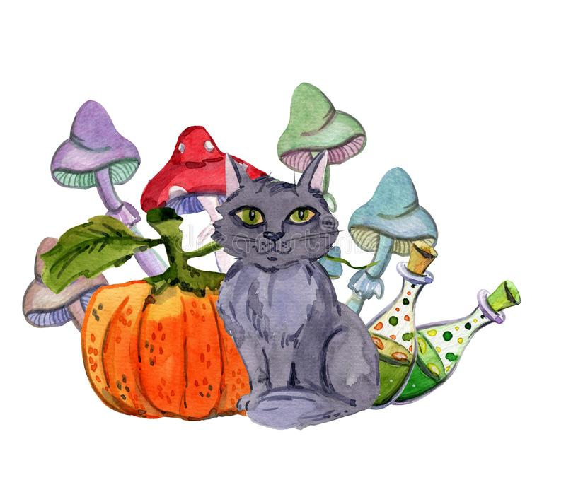 Halloween cat with a pumpkin and mushrooms royalty free illustration