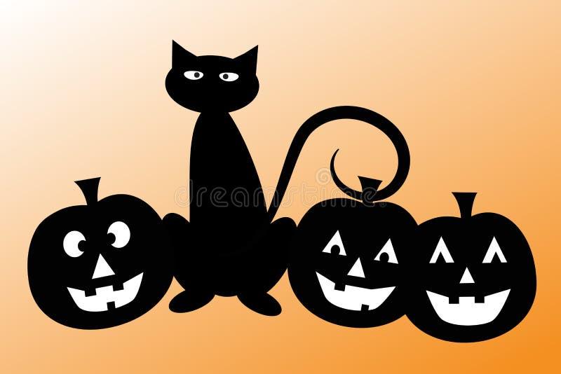 Download Halloween Cat With Pumpkins Stock Vector - Image: 38121087