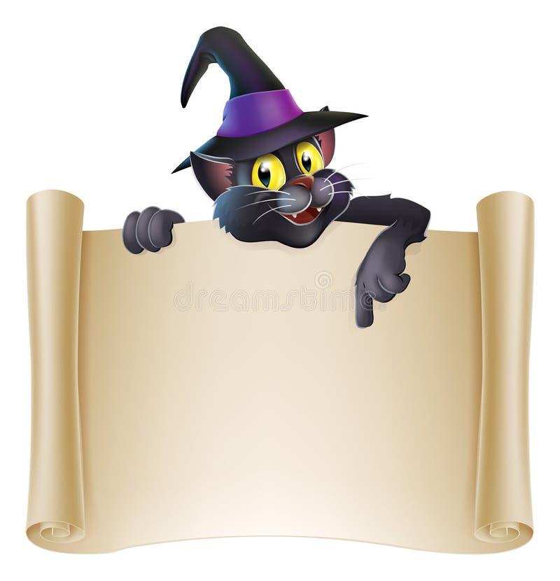 Halloween cat scroll sign royalty free illustration