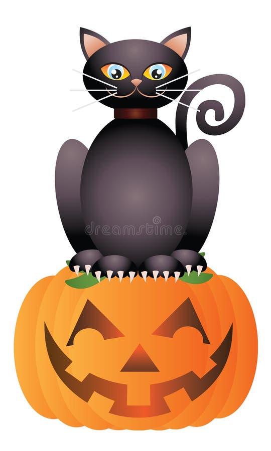 Halloween Cat Sitting on Pumpkin Illustration