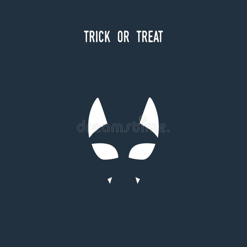 Halloween cat symbol using negative space silhouette. Animal holiday cartoon with evil vampire kitten. stock illustration