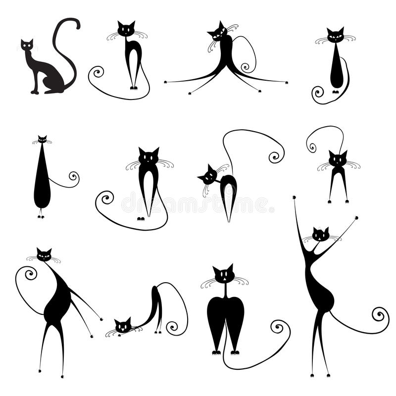 Halloween cats royalty free illustration