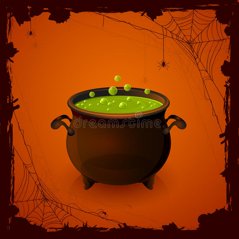 Free Halloween Cauldron And Spiders Stock Photo - 43781470