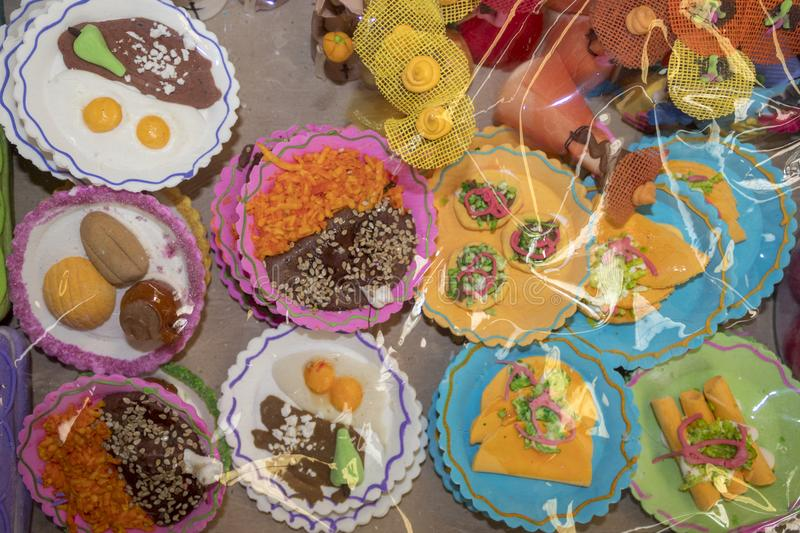 Mexican market on Day of the Dead. Halloween is celebrated with altars and offerings to dead relatives. Usually candy, alcohol, cigarettes and the dead person`s stock photography