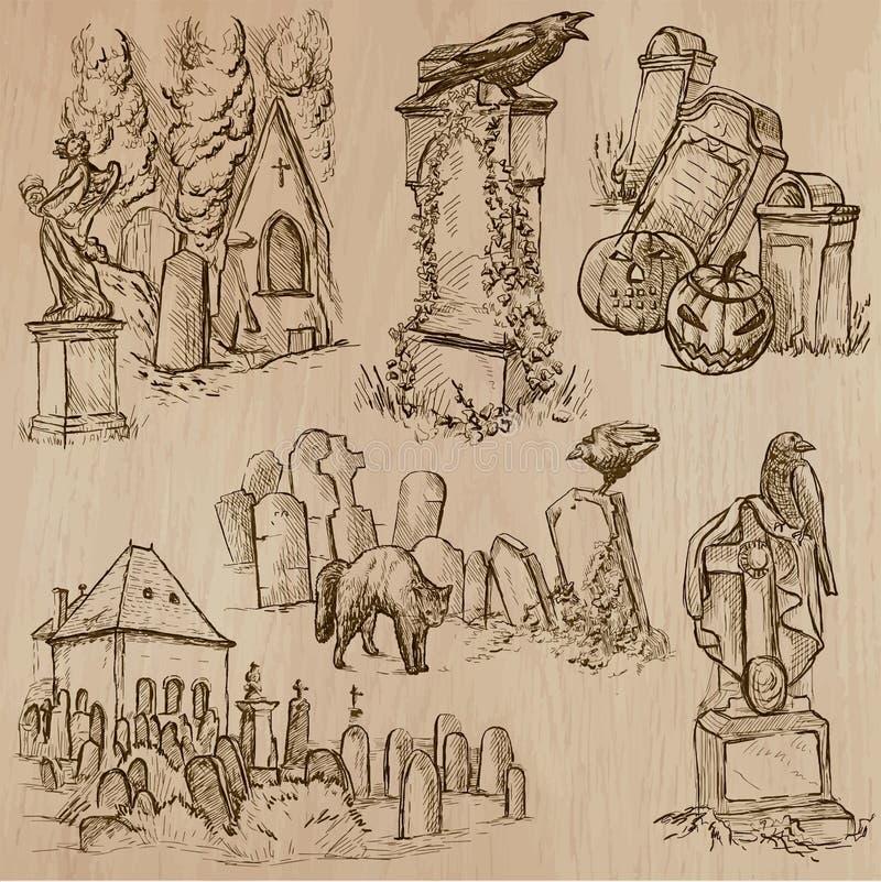 Halloween, cementerios - un paquete dibujado mano del vector stock de ilustración