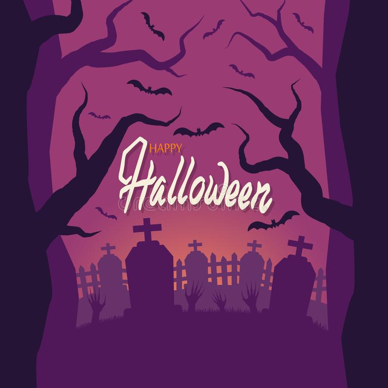 Halloween. Cemetery, zombie hands stick out of the ground. Fence, grave. Sunset, terrible trees. The bats. 10 eps royalty free illustration