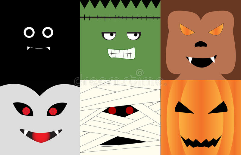 Halloween character faces royalty free stock images