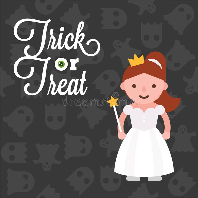 Halloween character girl in angel costume on ghost background, f stock illustration